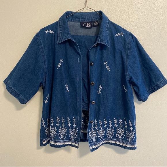 CB Sport Embroidered Shirt & Capri Pants Blue Set